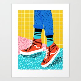 Toe Drag - memphis throwback fashion shoes retro pattern grid pink bright neon hipster Art Print
