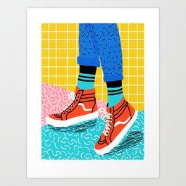 Toe Drag - memphis throwback fashion shoes retro pattern grid pink bright neon hipster Art Print