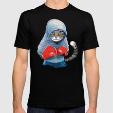 Boxing Cat LARGE Black Mens Fitted Tee