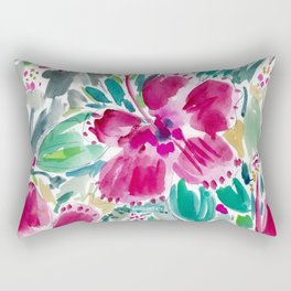HOLIDAY HIBISCUS Painterly Floral Rectangular Pillow