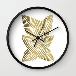 Tropical Banana Leaves – Gold Palette Wall Clock