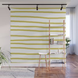 Simply Drawn Stripes Mod Yellow on White Wall Mural