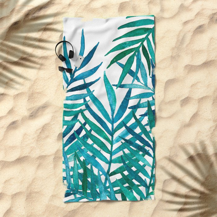 Watercolor Palm Leaves on White Beach Towel