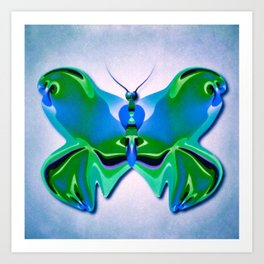 Bright Blue and Green Abstract Butterfly Art Print
