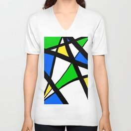 China Blue, Apple Green and Sunshine Yellow Abstract Unisex V-Neck