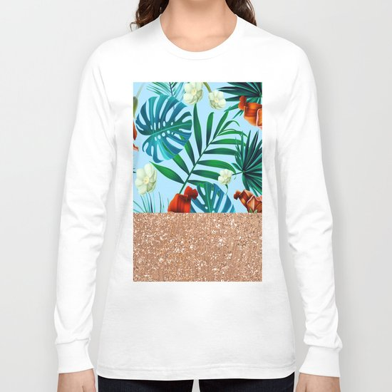 Tropical blue floral rose gold Long Sleeve T-shirt