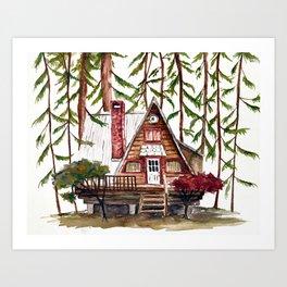 Cabin In The Woods Watercolor Art Print