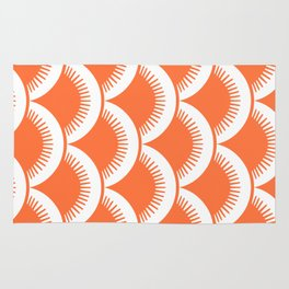 Japanese Fan Pattern Orange Rug