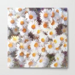 Spring Daisy Wildflower Watercolor Metal Print