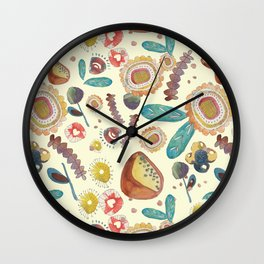 Vintage Floral Watercolour Pattern Wall Clock