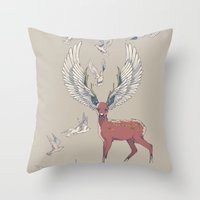 freedom Throw Pillows featuring Freedom by Huebucket