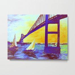 Neon Newport Bridge Metal Print