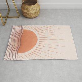 Mid Century Modern Sun print Ocean landscape Terracotta Minimal Boho Rug