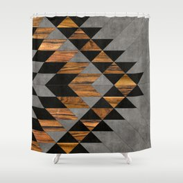 Urban Tribal Pattern No.10 - Aztec - Concrete and Wood Shower Curtain