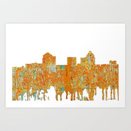 Greensboro, NC Skyline - Rust Art Print