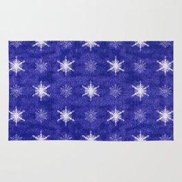 Royal Purple and White Christmas Snowflakes Rug