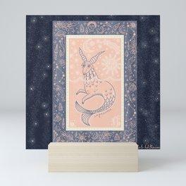 Capricorn Tarot Card with Starry Night Background Mini Art Print