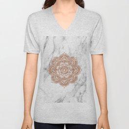 Rose gold mandala on marble Unisex V-Neck