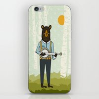 banjo iPhone & iPod Skins featuring Bear's Bourree - Bear Playing Banjo by Prelude Posters
