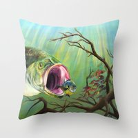 clueless Throw Pillows featuring Large Mouth Bass and Clueless Blue Gill Fish by Sonya ann