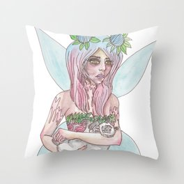 Fairy Cat Mother Throw Pillow