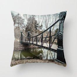 Victorian Bridge in Winter Throw Pillow