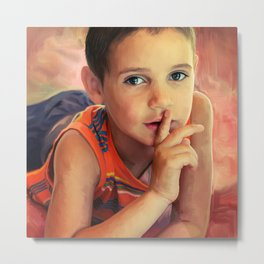 Hush - portrait of a boy with his finger to his lips Metal Print