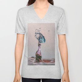 Red and Blue Water drop collision Unisex V-Neck