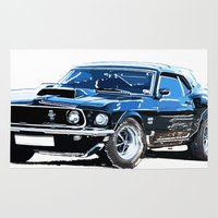 muscle Area & Throw Rugs featuring american muscle  by Vector Art
