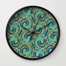 Modern Rococo Mermaid Ocean Waves Wall Clock