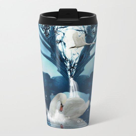 Beautiful white swan Metal Travel Mug