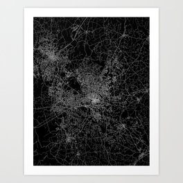 raleigh map north carolina Art Print