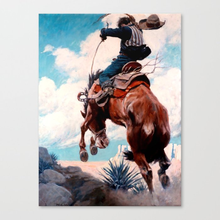 "Vintage Western Painting ""Bucking"" by N C Wyeth Leinwanddruck"