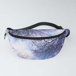 Black Trees Violet Purple Blue Space Fanny Pack