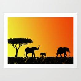 Elephants in the savanna Art Print