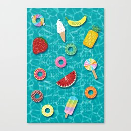 Fruit Salad Pool Floats Pattern – Turquoise Canvas Print