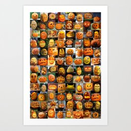 Pumpkin Faces Art Print