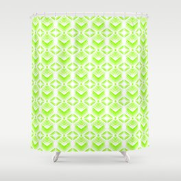 Green diamonds from white stars on lime hearts in a bright intersection. Shower Curtain