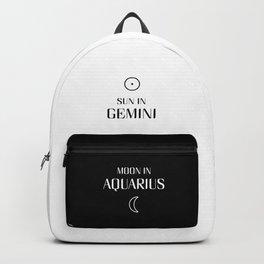 Gemini/Aquarius Sun and Moon Signs Backpack