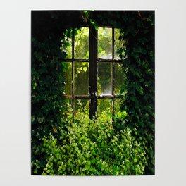Green idyllic overgrown cottage garden window Poster