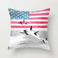 patriots Throw Pillows featuring United States Air Force(USAF) by MachoGifts