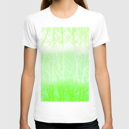 Frosted Winter Branches in Lime Green T-shirt