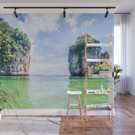 Clear Water and White Limestone Cliffs in Thailand Fine Art Print Wall Mural