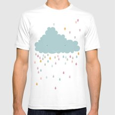 happy cloud White Mens Fitted Tee MEDIUM