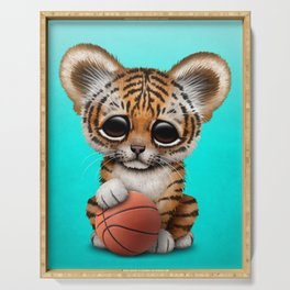 Tiger Cub Playing With Basketball Serving Tray