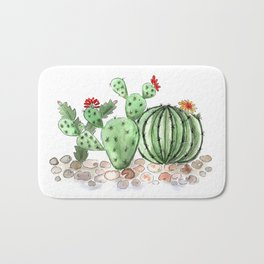 Cactus watercolor illustration Bath Mat