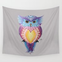 henna Wall Tapestries featuring Henna Owl by Sad Zebra