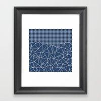 Ab Outline Grid Navy Framed Art Print