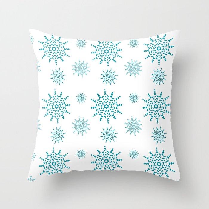Soft Aqua Blue Snowflake Pattern Throw Pillow
