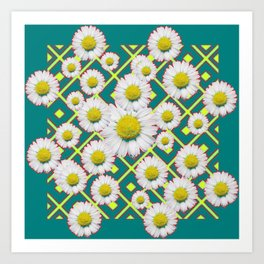 Teal Color Shasta Daisies Lime Pattern Art Abstract Art Print